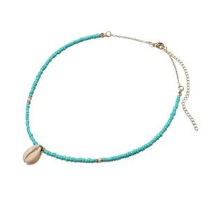 Cowrie seashell necklace turquoise beads choker